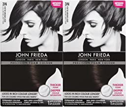 John Frieda Precision Foam Hair Colour, Deep Brown Black 3N, 2 pk