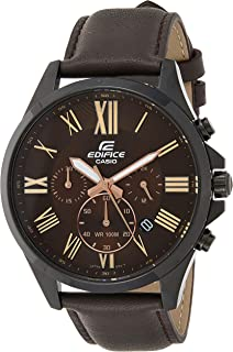 Casio Mens Quartz Watch, Analog Display and Leather Strap