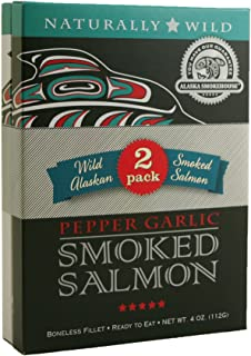 Alaska Smokehouse Wood Crate With 1 Each Smoked Salmon, & Pepper Garlic Fillet, 8 Ounce Box