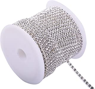 KAOYOO 1 Roll 10 Yards Crystal Rhinestone Close Chain Trim, SS08/2.5mm, Silver Chain with Clear Crystal Beads