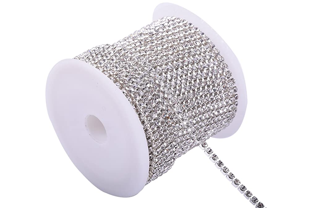 KAOYOO 1 Roll 10 Yards Crystal Rhinestone Close Chain Trim, SS06/2.0mm, Silver Chain with Clear Crystal Beads