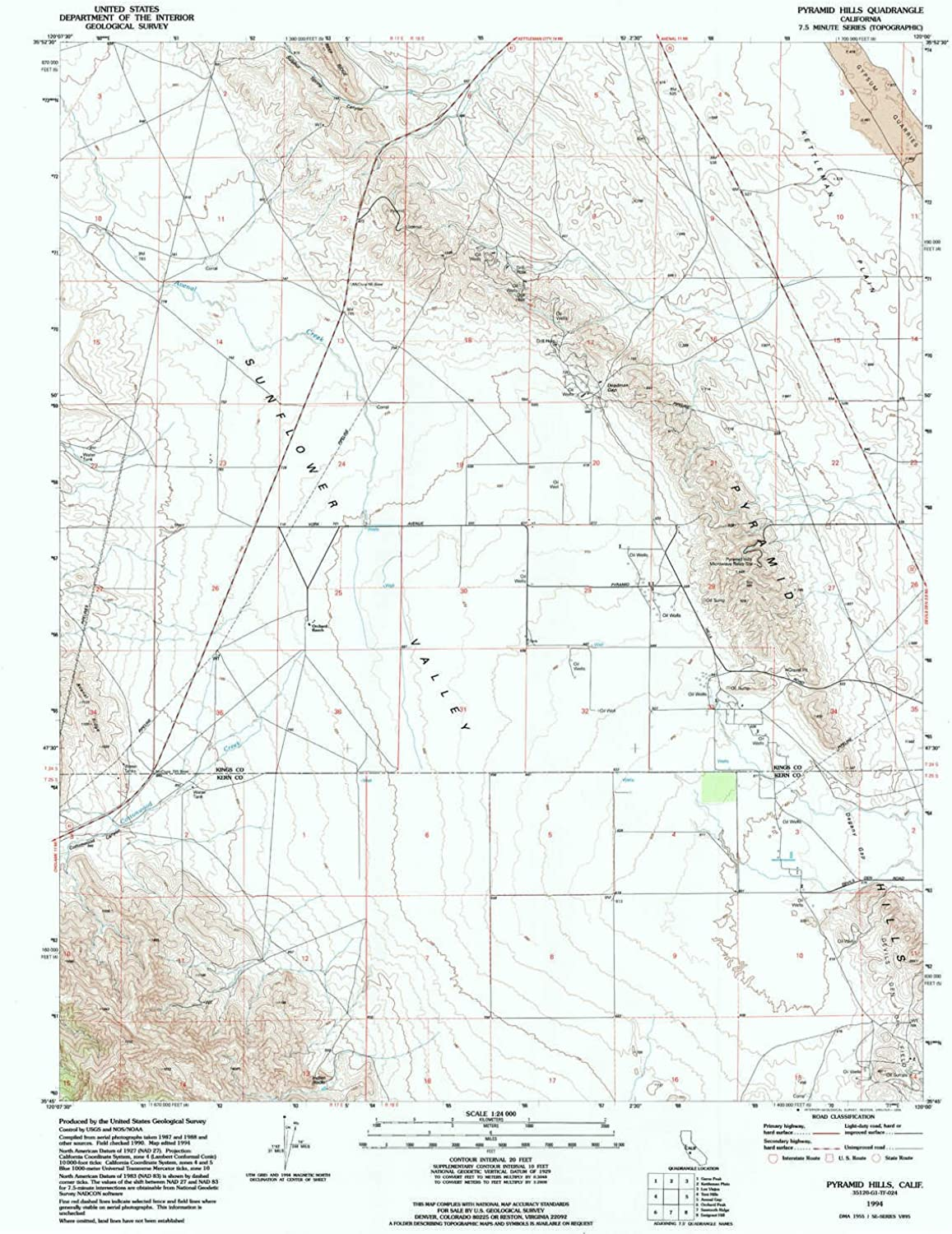 Pyramid Hills CA topo map, 1 24000 Scale, 7.5 X 7.5 Minute, Historical, 1994, Updated 1994, 26.8 x 21.4 in