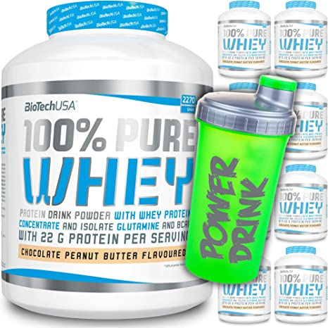 BioTech USA - 100% Pure Whey - Bolsa de 454 g + coctelera CP Sports gratis / proteína multicomponente / proteínas / caseína/aislado/concentrado de ...