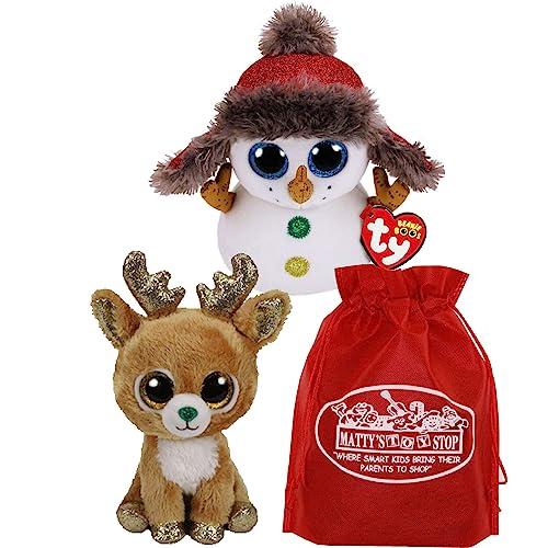 2a2d17dfa96 Ty Beanie Boos Buttons (Snowman)   Gltzy (Reindeer) Holiday Set Bundle with
