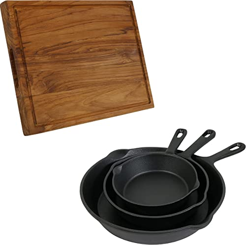 discount Sunnydaze 16-Inch Reversible Teak Wooden Cutting Board with Juice Groove and Inset Hand Grips and Pre-Seasoned 3-Piece popular wholesale Cast Iron Skillet Set - 6-Inch, 7-Inch and 10-Inch Black Metal Frying Pans Bundle outlet sale