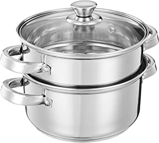 Amazon Brand - Solimo Stainless Steel Induction Bottom Steamer/Modak/Momo Maker with Glass Lid (2 litres)