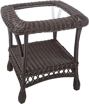 W Home SW1404-ET Patio Outdoor Side Table, Dark Brown