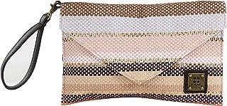 For Time Bolso de Mano con Solapa de Rafia Multicolor, Mujer, 29x18x1 cm