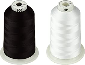 Simthread 42 Options Various Assorted Color Packs of Polyester Embroidery Machine Thread Huge Spool 5000M for All Embroidery Machines (1 Black 1 White)