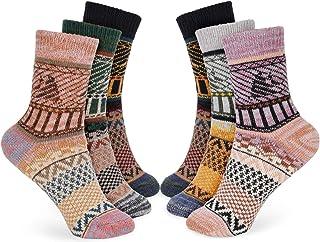 Bearbro Calcetines de Lana,6 Pares Calcetines Mujer Calcetines de Lana Cálidos de Confort Casual de Mujer de Invierno Vint...