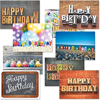 Playful Type Birthday Greeting Card Value Pack – Set of 18 (9 Designs), Large 5 x 7 inches, Envelopes Included, by Current