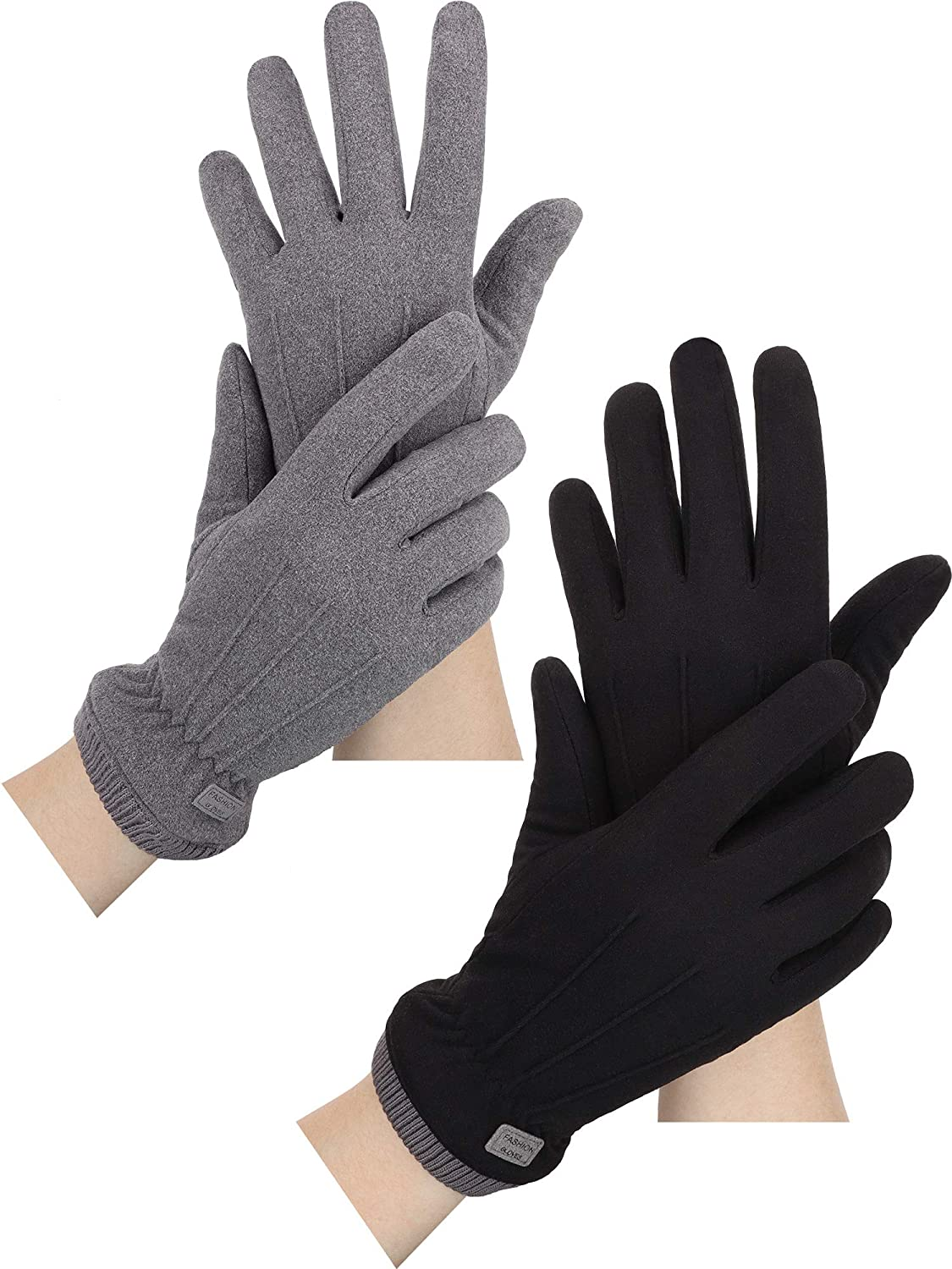 2 Pairs Women Winter Warm Touchscreen Gloves Fleece Texting Gloves Thermal Windproof Gloves with Elastic Cuff