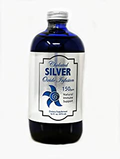 Chelated Silver Oxide Infusion 150 PPM, Silver Oxide Liquid Mineral, Colloidal Silver Alternative, Immune Supplement, Vega...