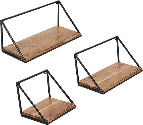 Craftarea Wooden Wall Mount Iron Storage/Outdoor/Garden Shelf (Acacia Wood, Natural Finish, Set of 3)