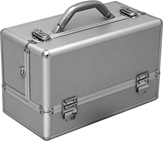 Hiker HK3201 Professional Makeup Artist Cosmetic Train Case Organizer Storage 6-Tray 2 Brush Holder, Smooth Silver, 1-Count