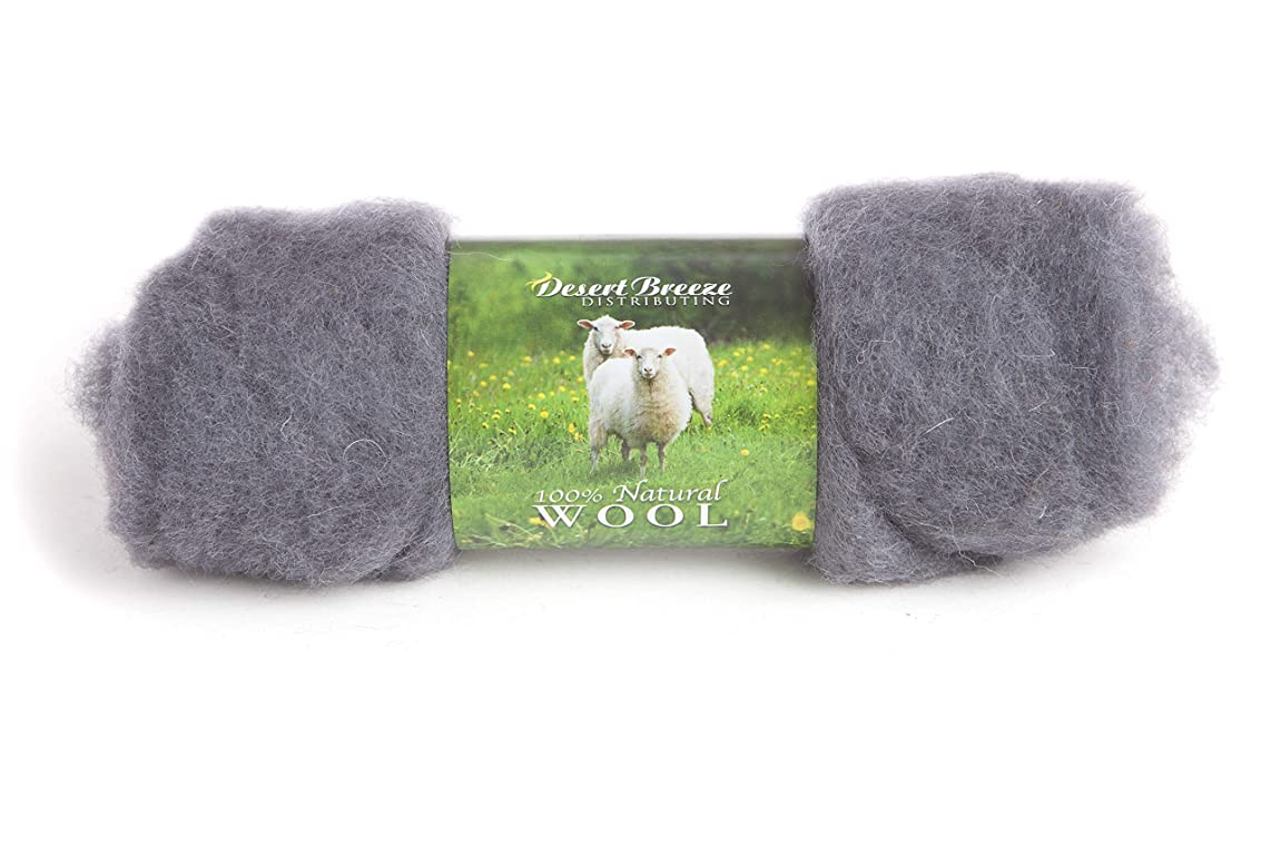 Maori Wool - A Special Blend of New Zealand Wools by DHG for Needle Felting and Wet Felting, 1 OZ Carded Wool Batt, 100% Pure Wool, Color Charcoal Gray