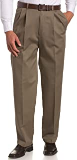 Men's Work-To-Weekend Khaki No-Iron Pleat-Front Pant with Hidden Expandable Waist