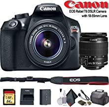 Canon EOS Rebel T6 DSLR Camera with 18-55mm Lens (1159C003) - Starter Bundle