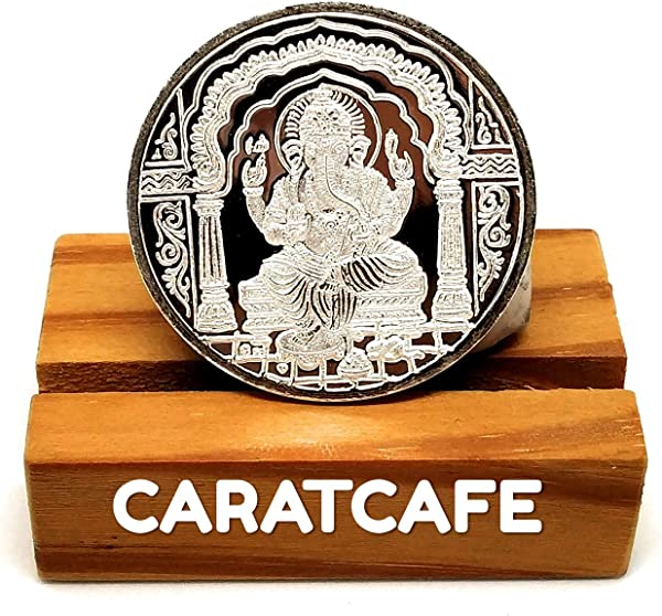 CARATCAFE God Ganesh Ji Silver Coin 10 Gram 999 Purity BIS Hallmarked Certified Ganesh Coins For Puja Diwali Gift Pooja Coins For Wedding Indian Wealth Luck Prosperity
