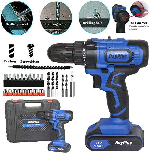 new arrival Cordless Drill online sale Driver Kit, wholesale 21V Impact Drill Set with 1.5AH Lithium-Ion Battery and Fast Charger, 18+1 Torque 2 Variable Speed Built-in LED, 29Pcs Accessories for Drilling Walls, Bricks, Wood, Metal online
