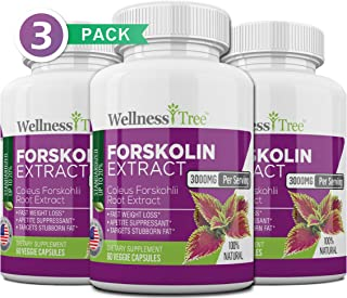 Pure Forskolin 3000mg Max Strength - Forskolin Extract for Weight Loss - Premium Appetite Suppressant, Metabolism Booster, Carb Blocker & Fat Burner for Men and Women - 3 Pack