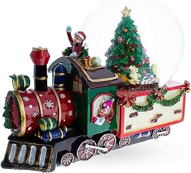 BestPysanky Train with Children and Christmas Tree Musical Snow Globe