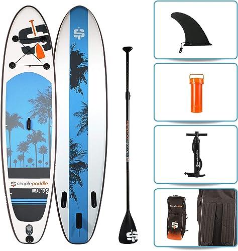 SIMPLE PADDLE Pack Stand Up Paddle Gonflable 10'6 - UGAL 10'6 (315 cm) x 30'' (76 cm) x 6  (15cm), livré avec pagaie + Pompe Double Action + Sac de Transport