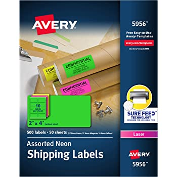 """Avery 2""""x 4"""" Neon Shipping Labels with Sure Feed for Laser Printers, Assorted Colors, 500 Neon Labels (5956)"""