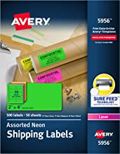 "Avery 2""x 4"" Neon Shipping Labels with Sure Feed for Laser Printers, Assorted Colors, 500 Neon Labels (5956)"