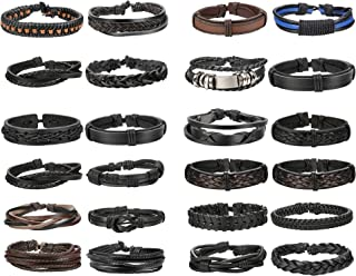 24 PCS Black Braided Leather Bracelets Set for Men Wrap Cuff Bracelet Adjustable