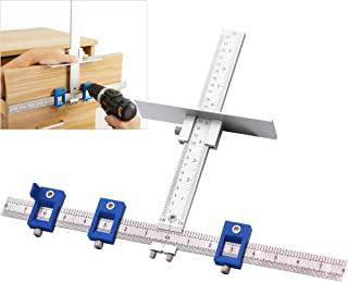 YIZRIO Cabinet Hardware Jig for Handles and Knobs - Drawer Guide Jig on Doors and Drawer Fronts - Fastest and Most Accurate Drawer Knob Pull Drilling Templates Jig Tool- Improve for inch Scale