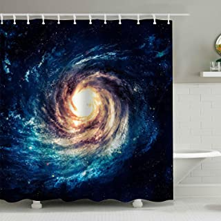 BROSHAN Space Decoration Shower Curtain Set,Spiral Galaxy Starry Night Milky Way Cosmic Mysterious Space Art Print Polyester Waterproof Fabric Bathroom Accessories with Hooks