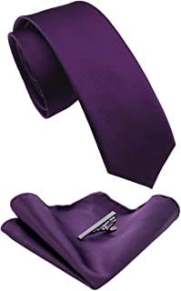 "JEMYGINS 2.4"" Solid Color Skinny Tie and Pocket Square with Tie Clip Sets for Men (6cm)"
