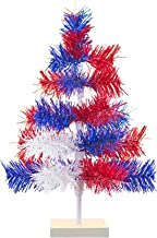 4th of July Christmas Trees Classic Tinsel Feather Style Tree Red, White, Blue Tabletop Height Vintage Retro American Patr...
