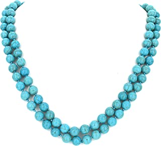COMELYJEWEL Fashion Jewelry Girls Boho Long Round Charms Bubble Simulated Pearl Bead Statement Necklace for Women (Blue)
