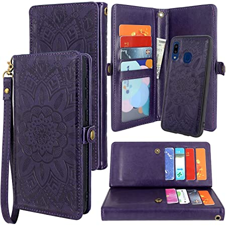 Galaxy A10e Case, Harryshell Detachable Magnetic 12 Card Slots Wallet Case Shockproof PU Leather Flip Protective Cover Wrist Strap for Samsung Galaxy A10e (Flower - Purple)