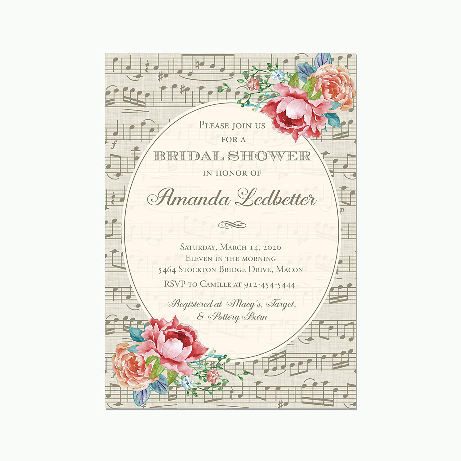 Music Themed Bridal Shower with Watercolor Popularity Invitations San Francisco Mall Flowers