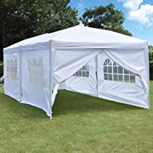 NSdirect 10 x 20 ft Pop Up Outdoor Canopy Tent,Easy Portable Wedding Party Tent Carrying Bag Adjustable Folding Gazebo Pavilion Patio Shelter with 6 Removable Side Walls Tent,White