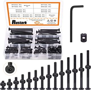 Rustark 141 Pcs M6 20mm-80mm Black Hex Socket Cap Bolts Barrel Nuts Assortment kit with Hex Key, Baby Bed Crib Screws Hard...