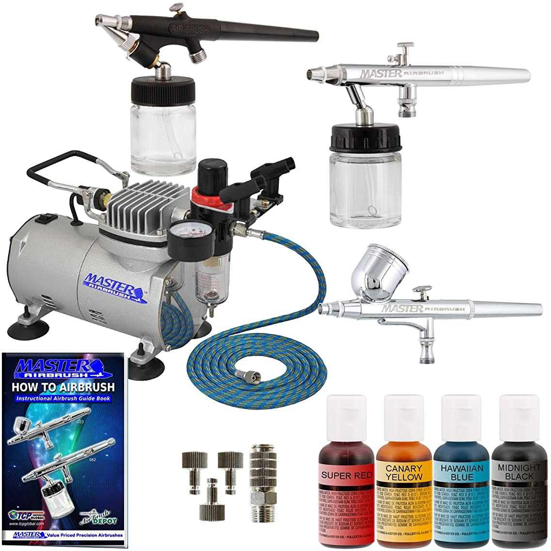 Master Airbrush Premium 3 Airbrush Cake Decorating Kit with G22, S68, E91 Master Airbrushes and TC-20 Air Compressor, 4 Chefmaster Airbrush Food Colors.7 fl oz Bottles