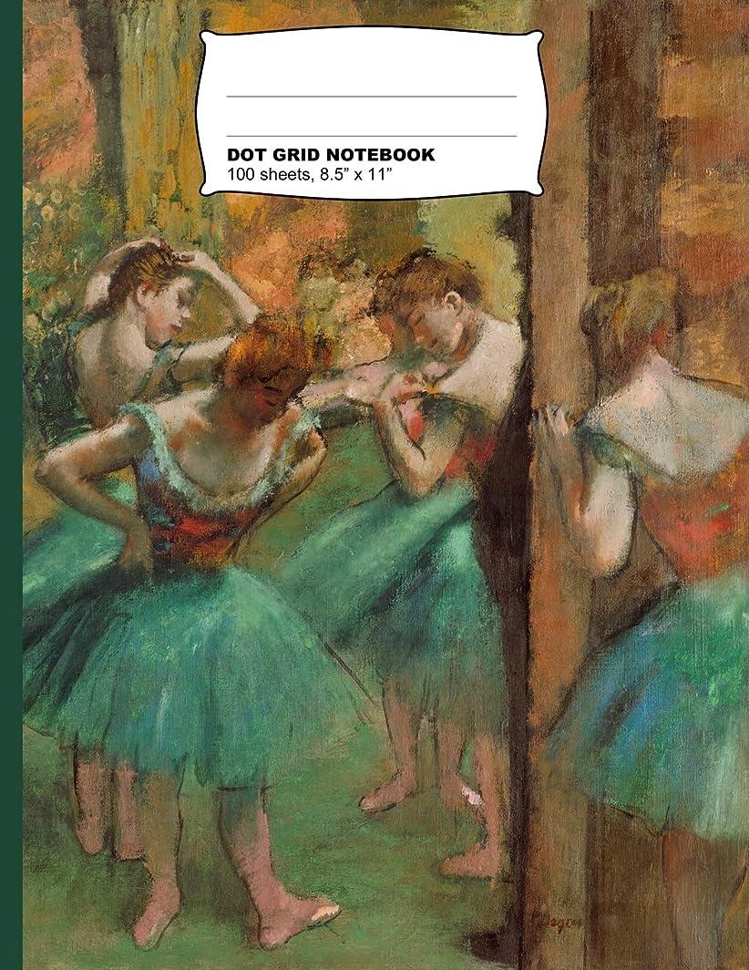 出費惨めなブラウズEdgar Degas Dancers Pink and Green Dot Grid Journal Notebook
