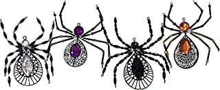 Party Explosions Spooky Spiders Jeweled Metal Halloween Ornaments - Set of 4