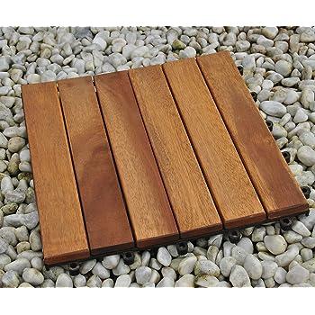 Einzelfliese klick-Fliese Bodenbelag mit Drainage Unterkonstruktion SAM Terrassenfliese 01 Akazien-Holz FSC/® 100/% Zertifiziert Garten Balkon