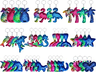 44 Pieces Flip Sequin Keychains Colorful Sequin Keychains Glitter Reversible Key Rings, 11 Styles and 4 Colors