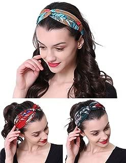 3 Pack Fashion Headband for women Adjustable Stretchy Boho Criss Cross Vintage Hairband