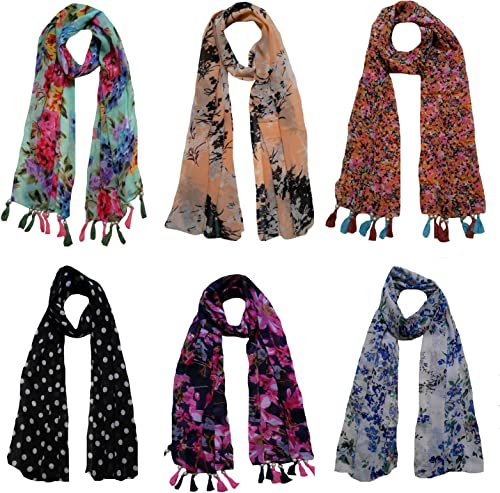 Letz Dezine Women s Printed Poly Cotton Multicolored Scarf and Stoles with Pearl Tassels Set of 6 LDS10111