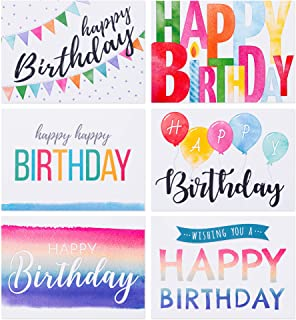 Spark Ink Birthday Cards and Envelopes Assortment (50 pcs) Happy Birthday Greeting Card for Kids & Adults. Bulk Pack Inclu...