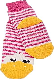 Weri Spezials Baby und Kinder Voll-Frotee Voll-ABS Socken im feinen Tanzschuh-Dessign in Schwarz-Dunkel Rosa