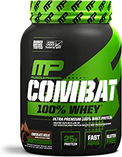 MusclePharm Combat 100% Whey, Muscle-Building Whey Protein Powder, Chocolate Milk, 2 Pounds, 27 Servings