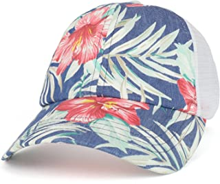 Armycrew Floral Print Trucker Mesh Back Unstructured Baseball Cap - Blue